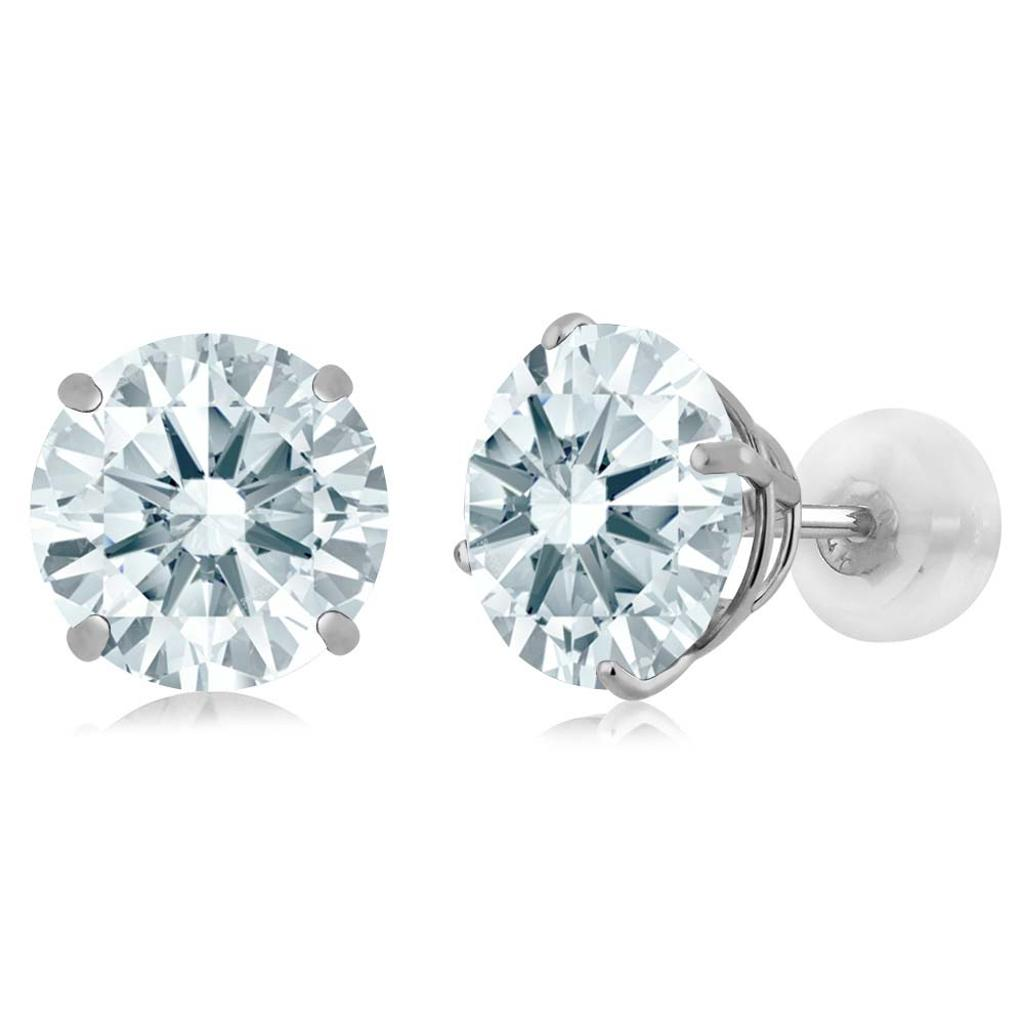 14K White Gold  Earrings Set with Round White Zirconia from Swarovski
