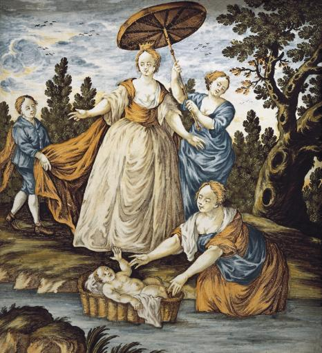 Moses Saved From The Water. 18Th C. Maiolica Of The Abruzzi. Ceramics. Aisa/Everett Collection Poster Print
