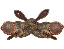 3D Western Spur Straps Leather Realtree Inlay L Brown SS1324