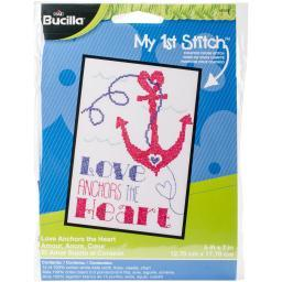 "My 1St Stitch Love Anchors Mini Counted Cross Stitch Kit-5""X7"" 14 Count 46442"