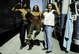 Arnold Schwarzenegger, Wilt Chamberlain, and Andre the Giant on the set of Conan The Destroyer Photo Print