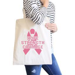 Hope Strength Courage Natural Gift Canvas Tote Bag Heavy Cotton
