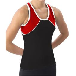 Pizzazz Performance Wear 7800 -BLKRED-AS 7800 Adult Tri-Color Top - Black with Red - Adult Small