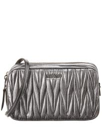 Miu Miu Logo Plaque Matelasse Leather Crossbody