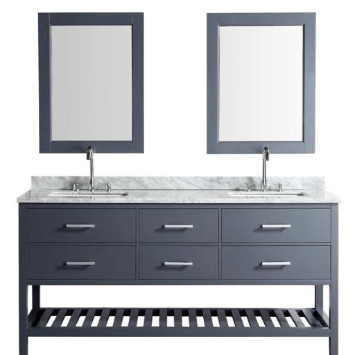 Design Element London DEC077B-G 61 in. Vanity Gray with Marble Vanity Top in Carrera White with White Basin & Mirror