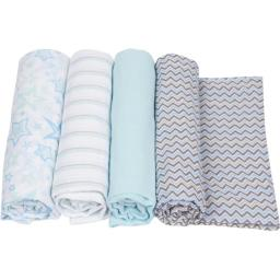 MiracleWare 2649 Blue Muslin Swaddle, 4 Pack
