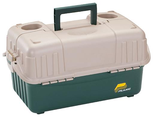 Frabill 861600 frabill hip roof tackle box w/6 trays – green/sandstone