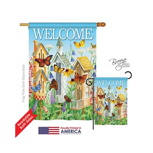 Breeze Decor 00047 Welcome Butterfly Houses 2-Sided Vertical Impression House Flag - 28 x 40 in.