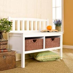 Holly & Martin Brazos White Bench with Brown Rattan Baskets