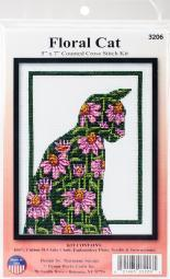 "Floral Cat Counted Cross Stitch Kit-5""X7"" 14 Count 3206"