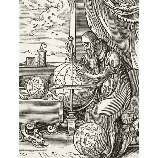 A German Astronomer & Cosmographist After A 16th Century Wood Engraving by Jost Amman From Science & Literature In The Middle Ages by Paul Lacroix Pub