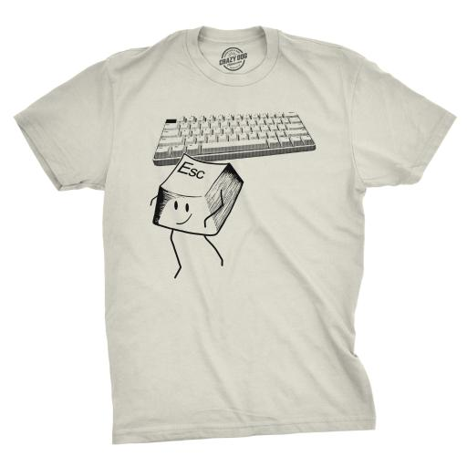 Mens Escape Key Tshirt Funny Nerdy Computer Keyboard Tee For Guys