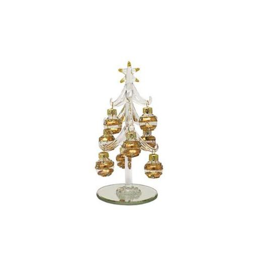 LS Arts XM-1148 6 in. Clear with 9 Champagne Colored Ornaments Tree