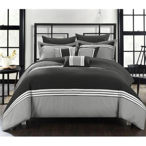 Chic Home CS3240-US Fullerton Hotel Collection Bed in a Bag Comforter Set with Sheets - Black - Queen - 10 Piece