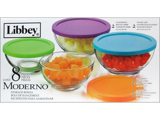 Cri56302 crisa by libbey glass moderno bowl set with lids