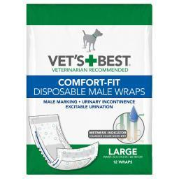 Vet'S Best 3165810451 White Vet'S Best Comfort-Fit Disposable Male Dog Wrap 12 Pack Large White 5.88 X 4.75 X 8.38