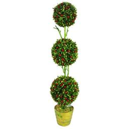 Admired by Nature ABN4X003-GRNRD Artificial 32 in. Christmas Glitter 3 Ball Topiary Plant in Green