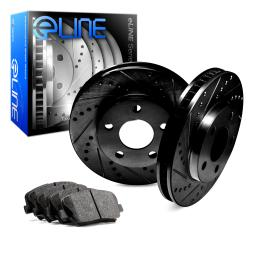 Front eLine Black Series Drilled Slotted Brake Rotors & Ceramic Pad FBC.75010.02