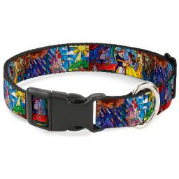 "Plastic Clip Collar - Beauty & the Beast Stained Glass Scenes - Large 15-26"" 1.0"" Large"