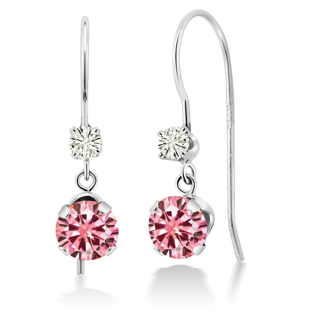 14K White Gold Dangle Earrings Round Pink Created Moissanite and Forever Classic Created Moissanite 0.12ct (DEW) by Charles & Colvard