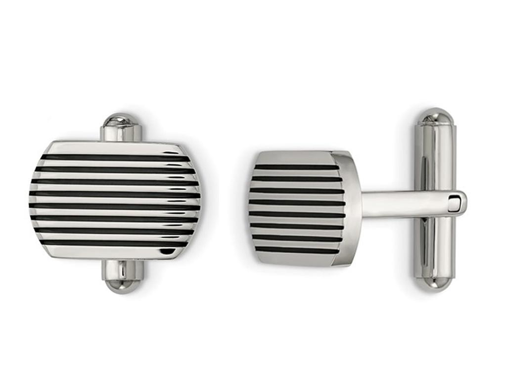 Mens Polished Striped Cuff Links in Stainless Steel