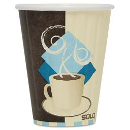 Duo Shield Insulated Paper Hot Cups 8OZ Tuscan Chocolate/Blue/Beige 1000/Ct | 1 Carton of: 20