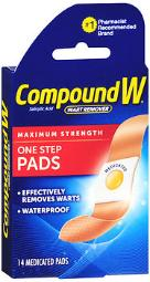 Compound W Wart Remover One Step Pads - 14 Pads, Pack Of 4