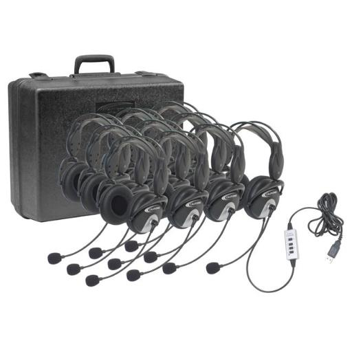 Califone 1544105 USB Headphones with Carrying Case, Pack of 10