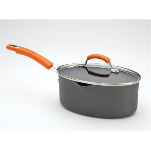 Rachael Ray 87586 Rachael Ray Hard Anodized II 3-Quart Covered Oval Saucepan with Two Pour Spouts Orange Handle