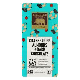 Endangered Species - Dark Chocolate Bar 72% Cocoa Cranberries & Almonds