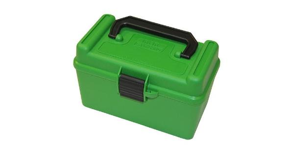 Mtm mtm deluxe ammo box 50 round handle 7mm rem mag 300 win mag green