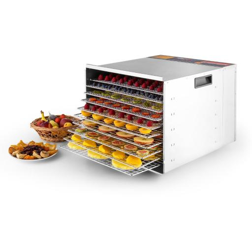 Della Commercial 1200W 10-Tray Food Dehydrator Nut Durable Fruit Sausage Jerky Dryer, Stainless Steel 8EAYEN11C9AHOJFV