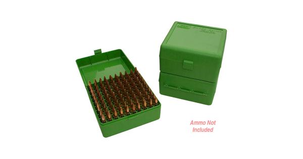 Mtm Ammo Box 100 Round Flip-Top 22-250 243 308 Win 220 Swift Green 6In. X 3.25In. X 6.5In. thumbnail