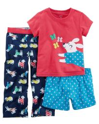 Carter's Little Girls' 3-Piece Dog Jersey PJs, 3-Toddler