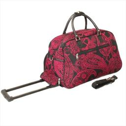 All-Seasons 8112022-641 21 in. Designer Prints Bandana Carry-On Rolling Duffel Bag, Black & Pink