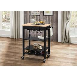 Benzara BM163664 Kitchen Cart with Wooden Top, Natural & Black