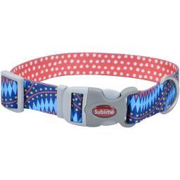 "Sublime 1.5"" Adjustable Dog Collar-Blue Diamonds W/Dots, Neck Size 18""-26"""