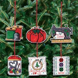 "Sewing Ornaments Counted Cross Stitch Kit-3""X3"" 14 Count Set Of 6 21-1454"