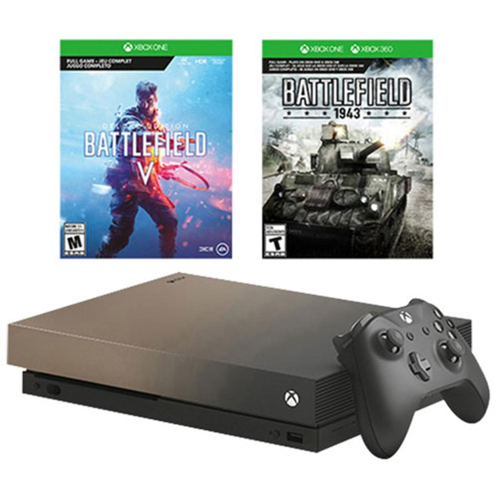 Microsoft - Xbox One X 1TB Gold Rush Special Edition Battlefield V Bundle with 4K Ultra HD Blu-ray - Gray Gold