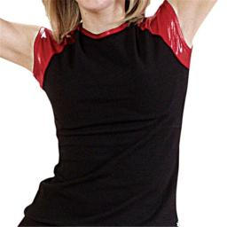 Pizzazz Performance Wear 6800M -BLKRED-2XL 6800M Adult Metallic Cap Sleeve Tee - Black with Red - 2XL