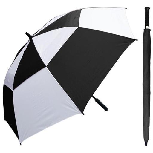 60 in. Auto Open Black & White Wind Buster Golf Umbrella with Golf Grip Handle, 6 Piece