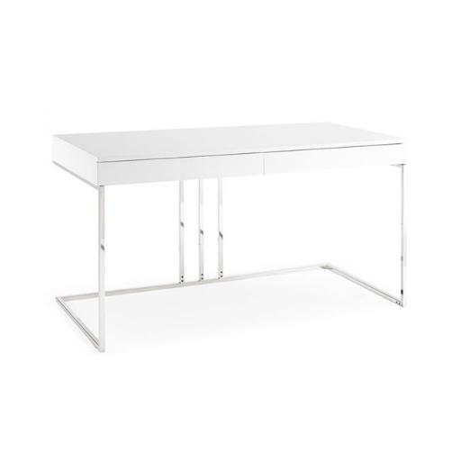 Whiteline Modern Living DK1412-WHT 30 x 55 x 28 in. Sabine Desk - High Gloss White Lacquer with Stainless Steel Base