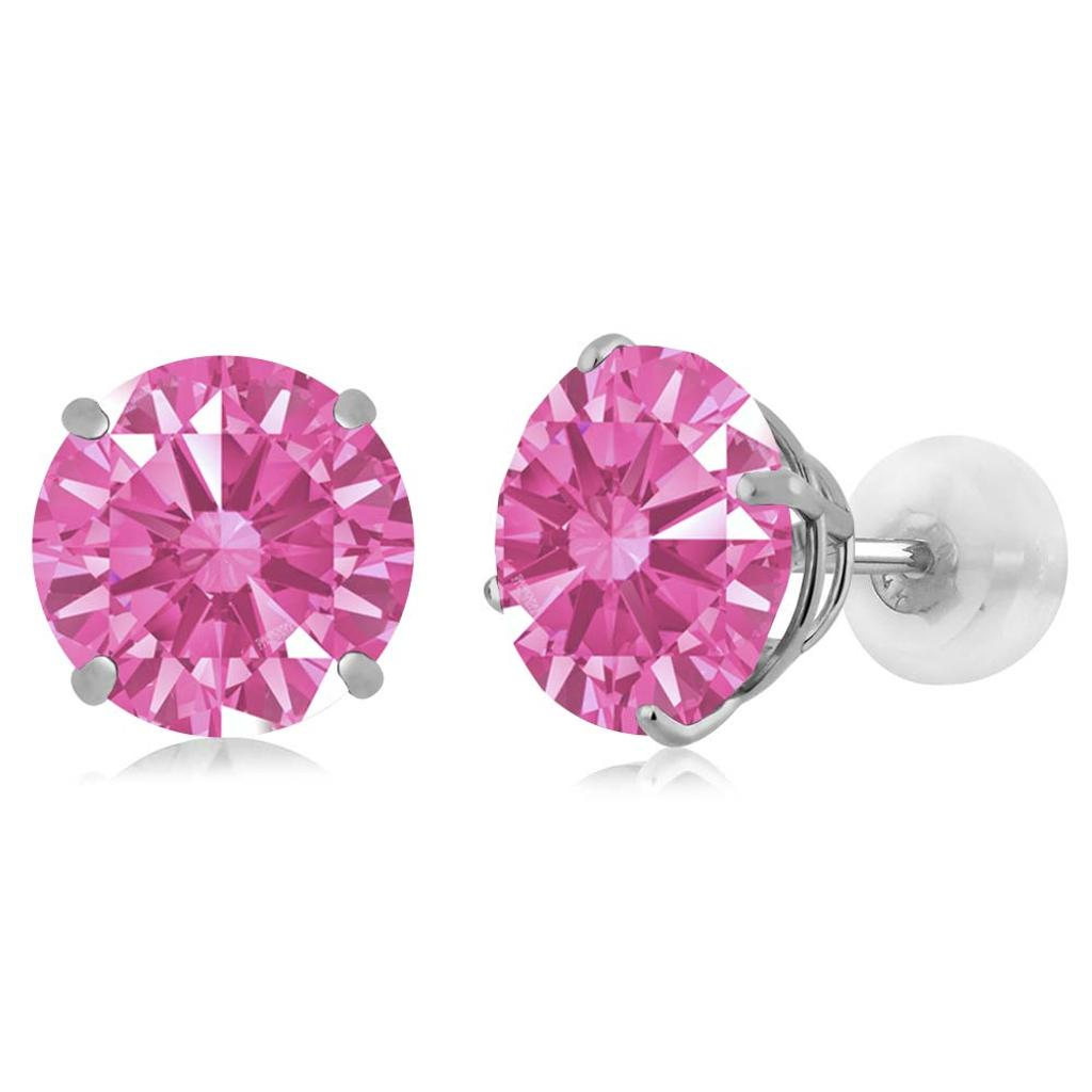 14K White Gold  Earrings Set with Round Pink Zirconia from Swarovski