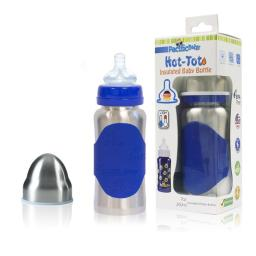 Pacific Baby 222 7 oz Hot-Tot Insulated Baby Bottle, Silver Blue