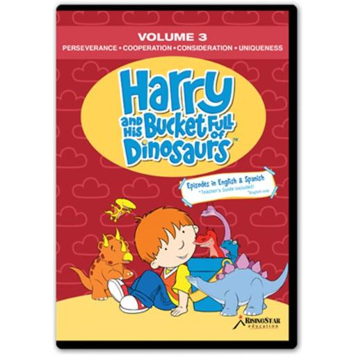 Rising Star Education HBD003 Harry & His Bucket Full of Dinosaurs- Vol. 3 - Perseverance- Cooperation- Consideration- Uniqueness- DVD