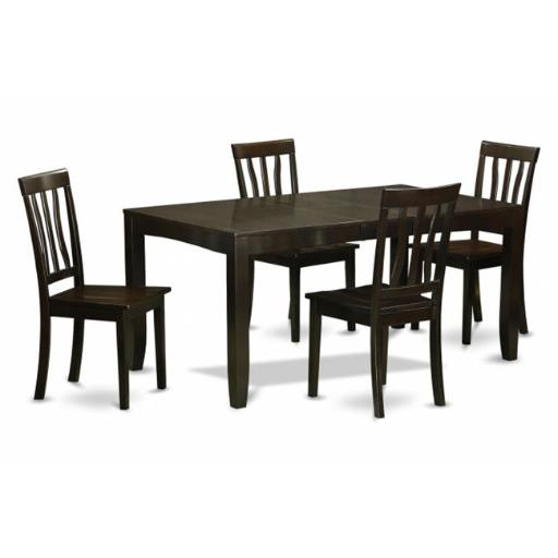 East West Furniture LYAN5-CAP-W 5 Piece Dining Table Set For 4-Dining Room Table With Leaf and 4 Kitchen Chairs