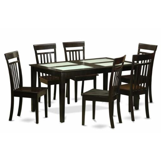 East West Furniture CAP7G-CAP-W 7 Piece Dining Table Set For 6-Dining Room Glass Top Table and 6 Dining Room Chairs
