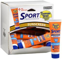 Banana Boat Sport Performance Sunscreen Lotion Spf 30 - 1 Oz Tray Of 24, Pack Of 2
