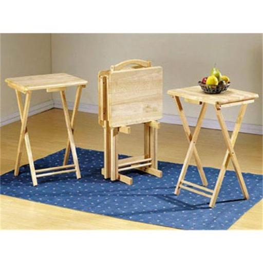 Ltd Stain finish 5pcs Tray table set Natural
