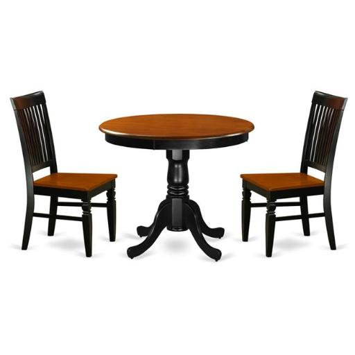East West Furniture ANWE3-BCH-W Kitchen Table Set with a Dining Table & 2 Kitchen Chairs, 3 piece - Black & Cherry